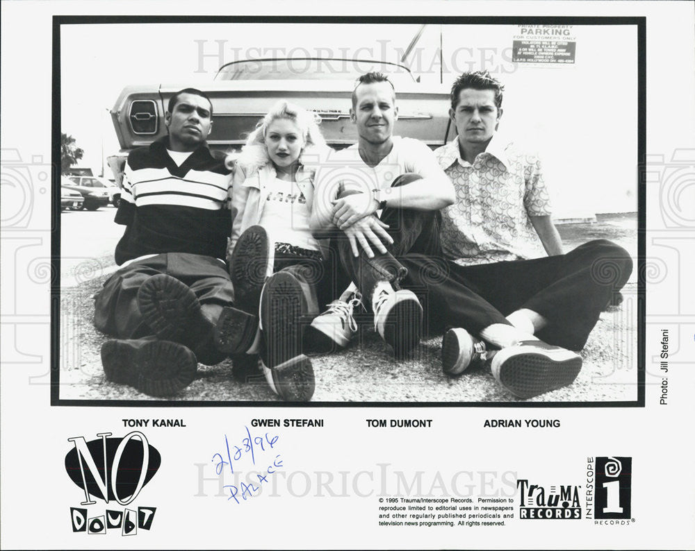 1995 Press Photo No Doubt Band Tony Kanal Gwen Stefani Tom Dumont Adrian Young - Historic Images