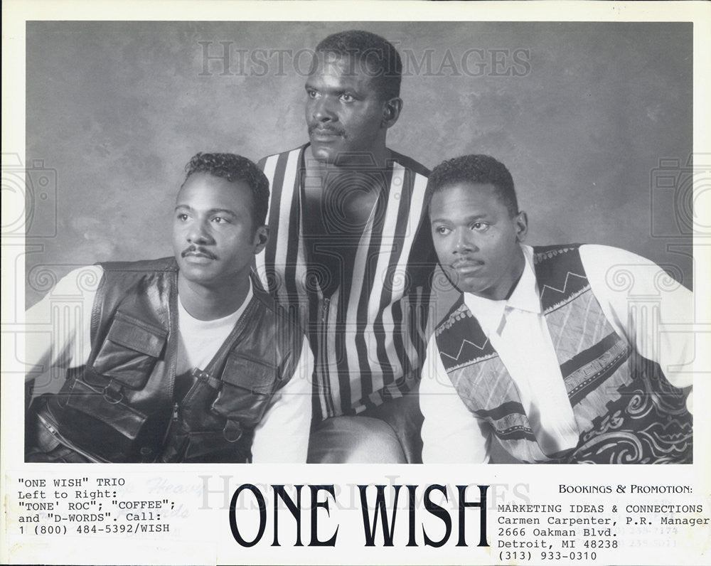 Press Photo One Wish Trio Vocal Tone Roc Coffee D-Words Singers R&B - Historic Images