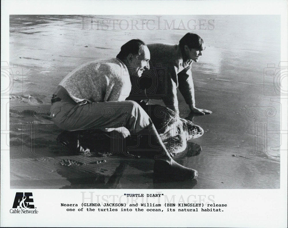 Press Photo Glenda Jackson Actress Ben Kingsley Actor Turtle Diary Film Movie - Historic Images