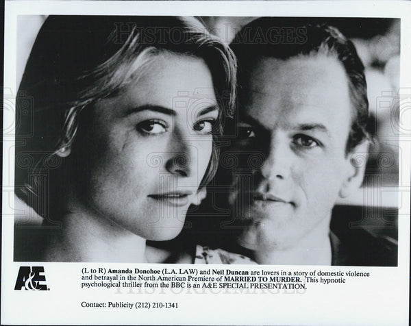 Press Photo Amanda Donohoe Actress Neil Duncan Actor Married To Murder Movie - Historic Images