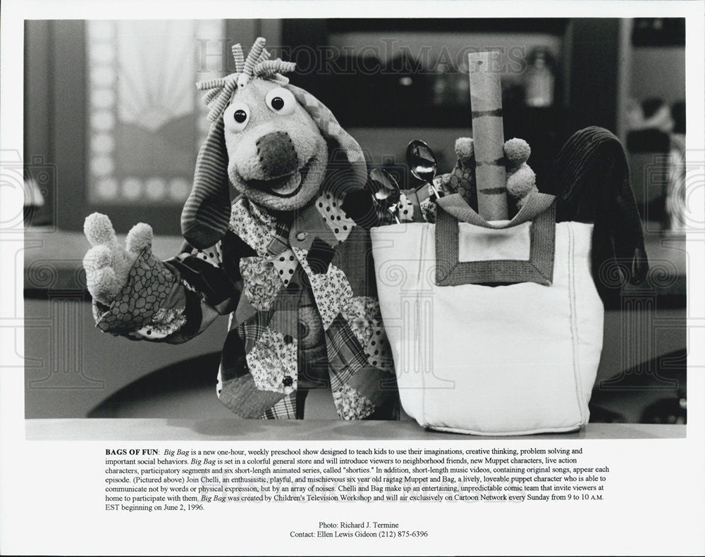 1996 Press Photo Bags Of Fun Children's Television Program Muppets - Historic Images