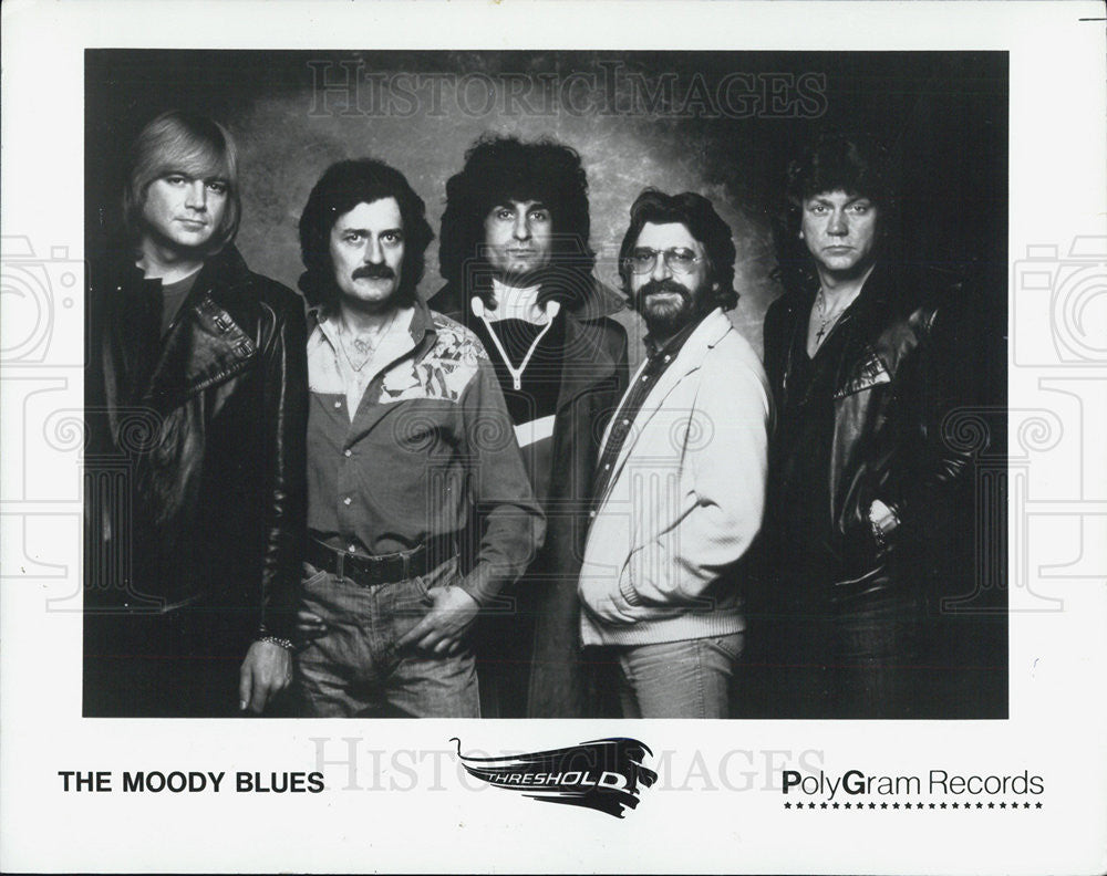 1981 Press Photo Moody Blues Patrick Moraz Ray Thomas Graeme Edge Justin Hayward - Historic Images
