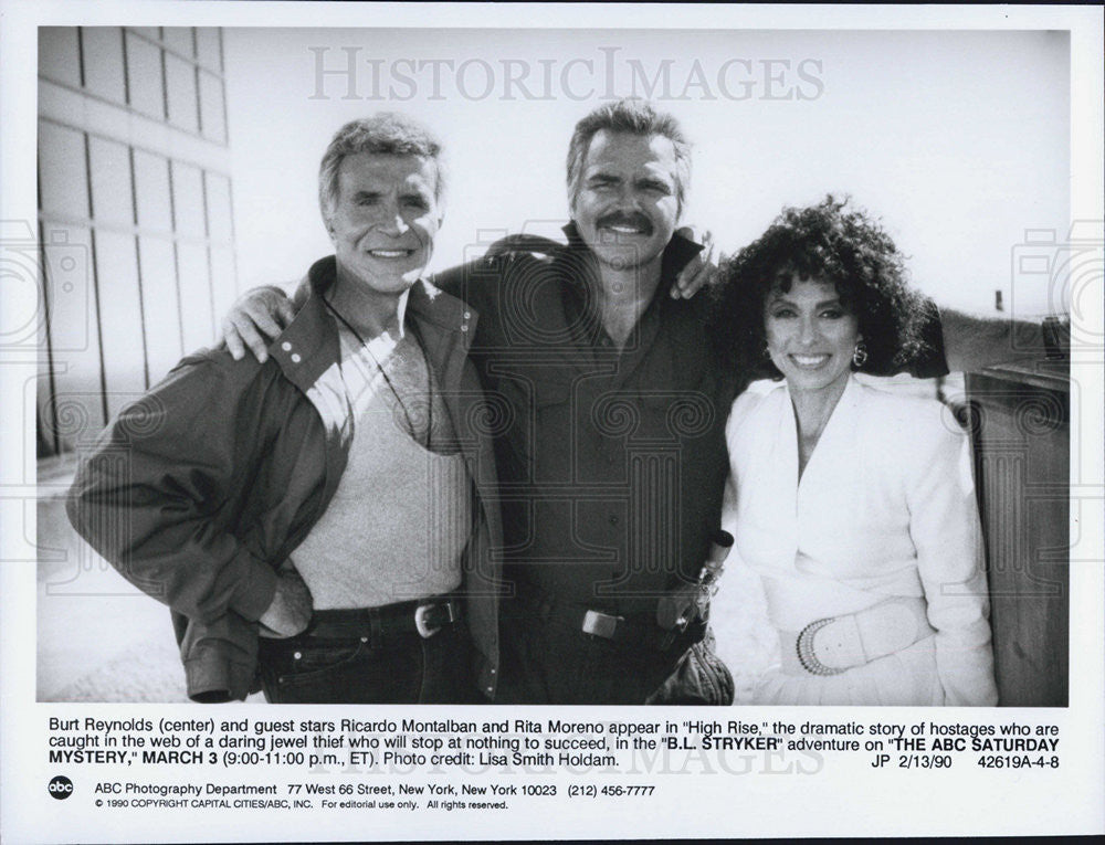1990 Press Photo Burt Reynolds Ricardo Montalban Rita Moreno In B.L. Stryker - Historic Images