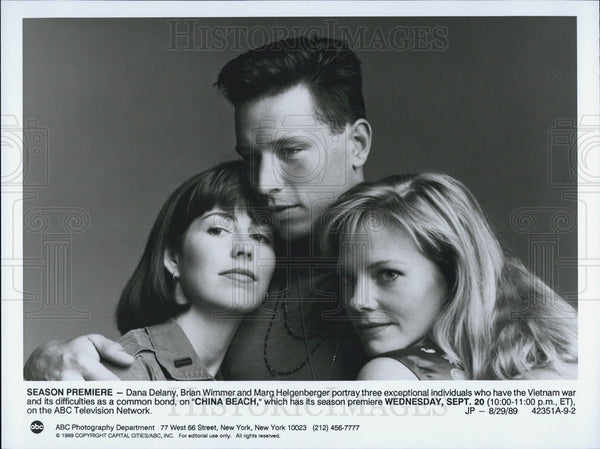 1989 Press Photo Dana Delany Actress Brian Wimmer Marg Helgenberger China Beach - Historic Images