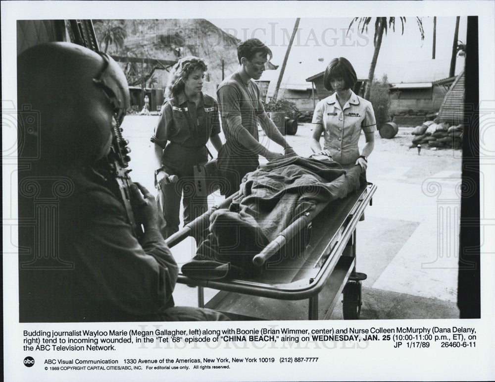 1989 Press Photo Megan Gallagher Brian Wimmer Dana Delany ABC Show China Beach - Historic Images