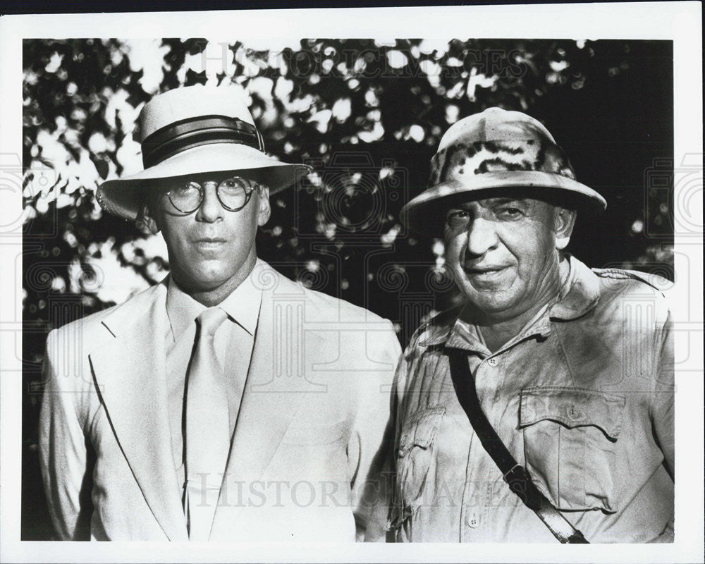 1985 Press Photo Actors Elliot Gould Telly Savalas George Burns Comedy Week - Historic Images