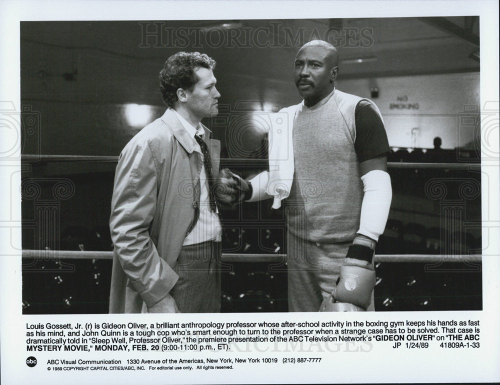 1989 Press Photo Actors Louis Gossett Jr John Quinn Gideon Oliver - Historic Images