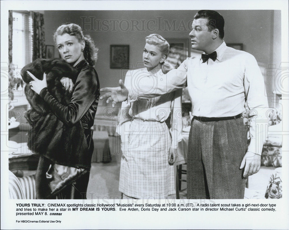 "1949 Press Photo Actors Eve Arden, Doris Day, Jack Carson In ""My Dream Is Yours"" - Historic Images"