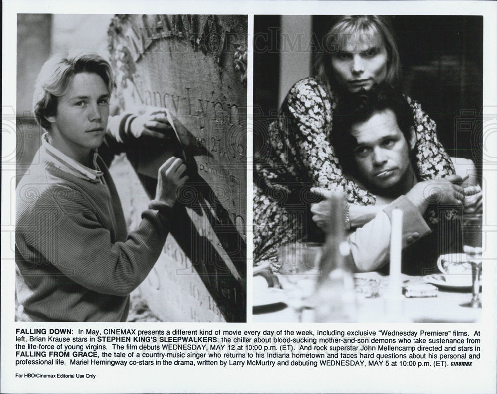 Press Photo Brian Krause, John Mellencamp & Mariel Hemingway on Cinemax. - Historic Images