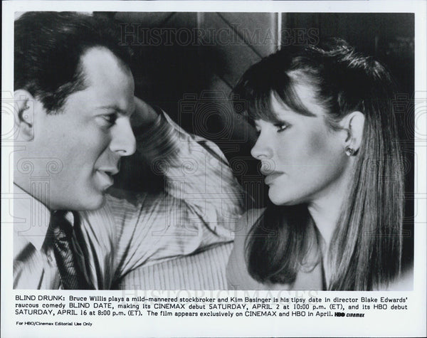 "Press Photo Bruce Willis & Kim Basinger in ""Blind Date."" - Historic Images"
