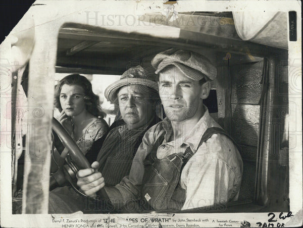 "1940 Press Photo Dorris Bowdon,Jane Darwell and Henry Fonda in ""Grapes of Wrath"" - Historic Images"