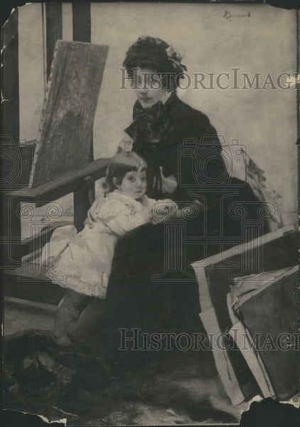 1913 Press Photo Portrait Mrs Yemi Lerolle Lights Child