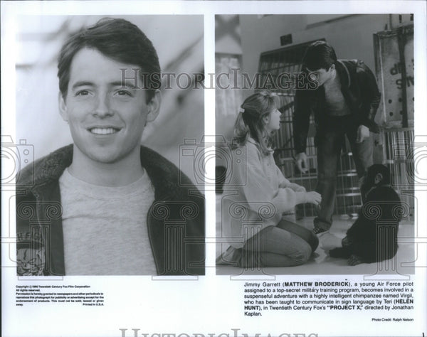 "Press Photo Mat Broderick & Teri Hunt in ""Project X"""