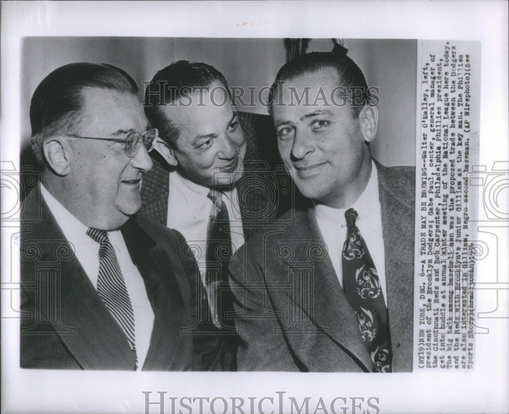 1954 Press Photo Bob Carpenter Walter OMalley Gabe Paul