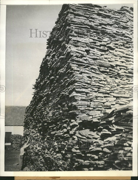 1936 Raw Cork Pile Factory Portugal - Historic Images