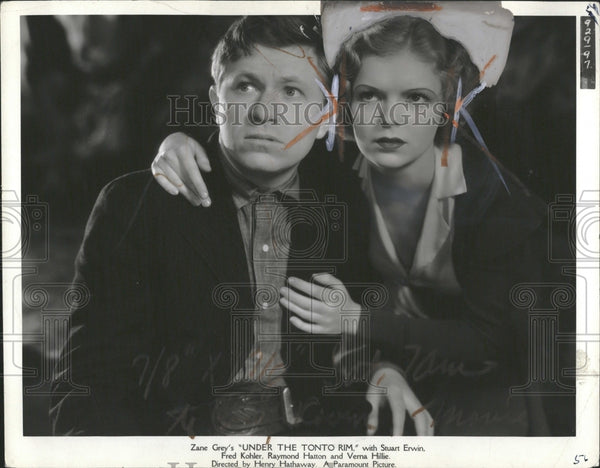 1933 Verna Hillie Actress Under Tonto Rim - Historic Images