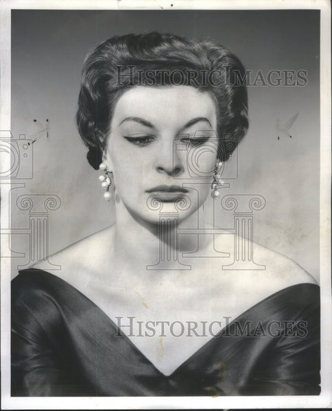 1956 Women hair style regal design Cloths - Historic Images