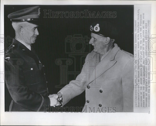 1949 Photo Gen. Omar Bradley With Viscount Montgomery - Historic Images