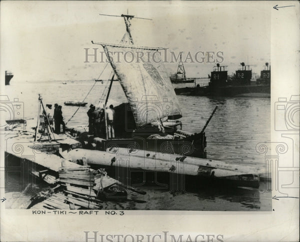 1947 Press Photo Ron Tiki Raft Expedition - RRW56865 - Historic Images