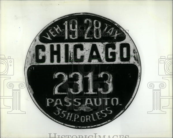 1928 Press Photo Chicago Vehicle Medallion - RRW63383 - Historic Images