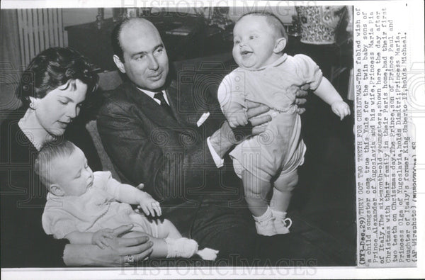 1958 Yugoslavian Royalties Twin Baby Sons - Historic Images