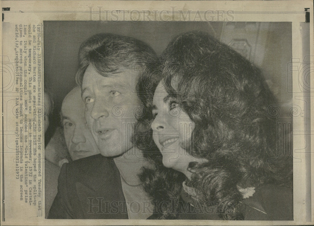 1973 Press Photo American Actress Elizabeth Taylor - Historic Images