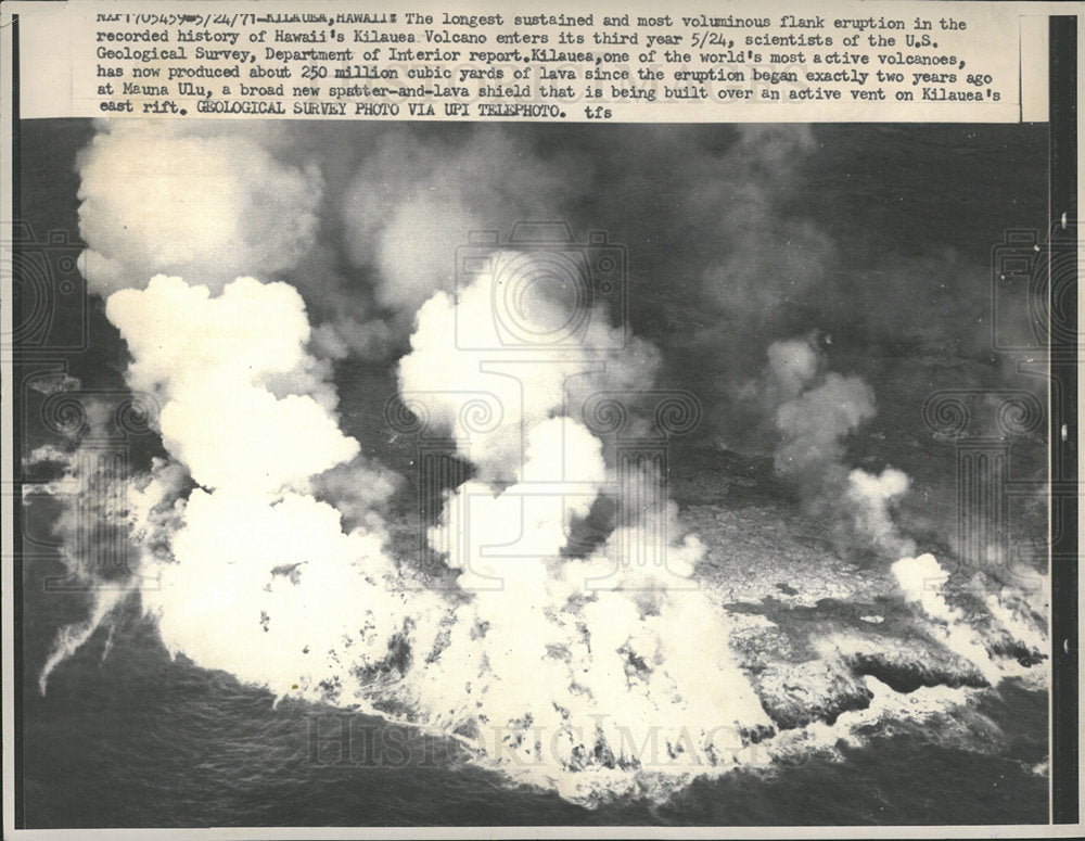 1971 Press Photo Hawaii Kilauea Volcano Flank Eruption - Historic Images