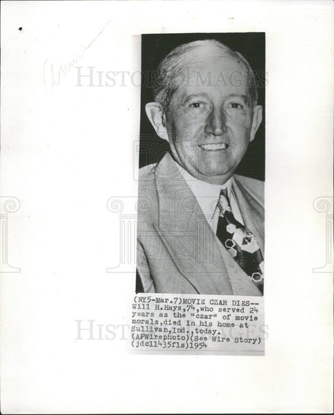 "1954 Will H. Hays ""Czar"" of Movie Morals - Historic Images"