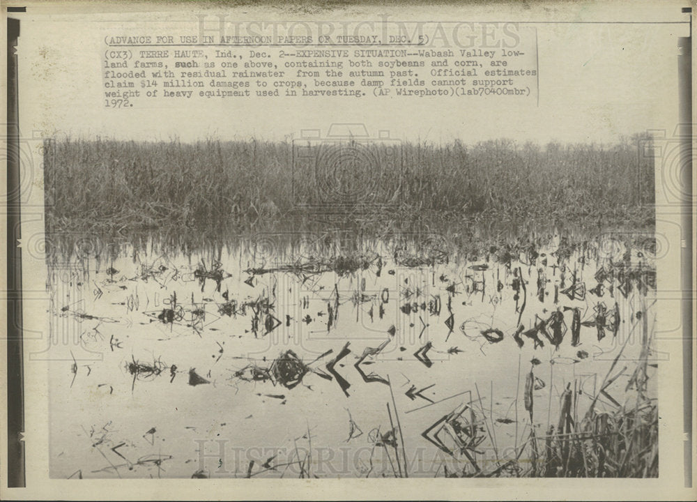 1972 Press Photo Wabash Valley Lowland Farms Flooded - Historic Images