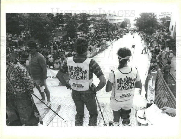 1985 Press Photo Skier Atlanta City Georgia Slope Run  - Historic Images