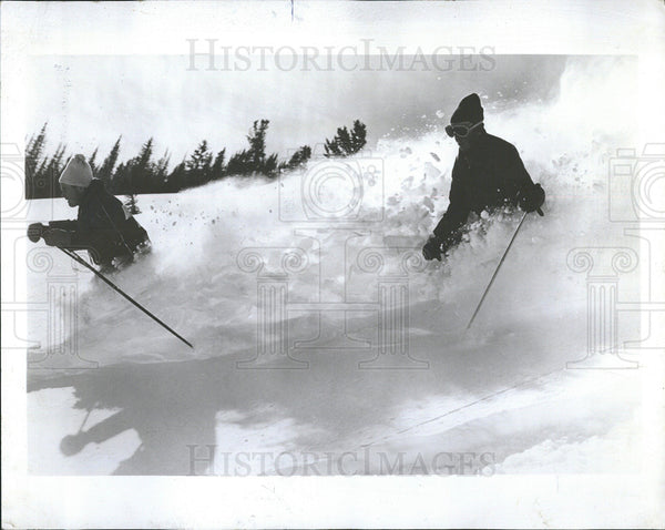 1969 Press Photo Skiers Churn Through Rendezvous Peak - Historic Images