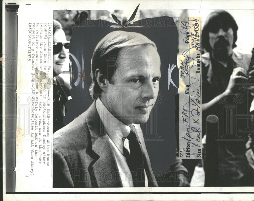 1973 Press Photo John Dean White House Counsel - Historic Images
