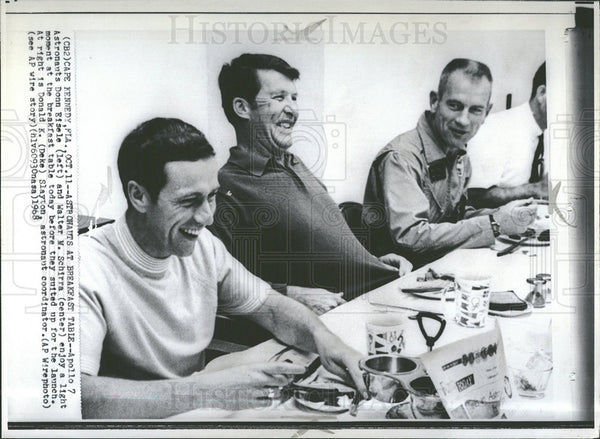 1968 Press Photo Apollo 7 astronauts launch breakfast - Historic Images