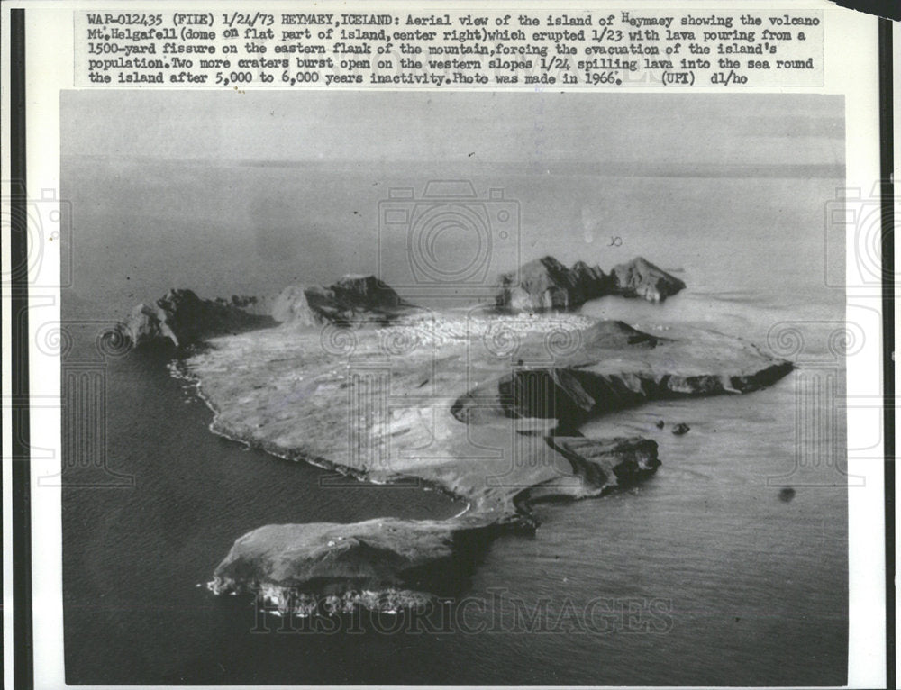 1973 Press Photo Heymaey Iceland Volcano Helgafell - Historic Images