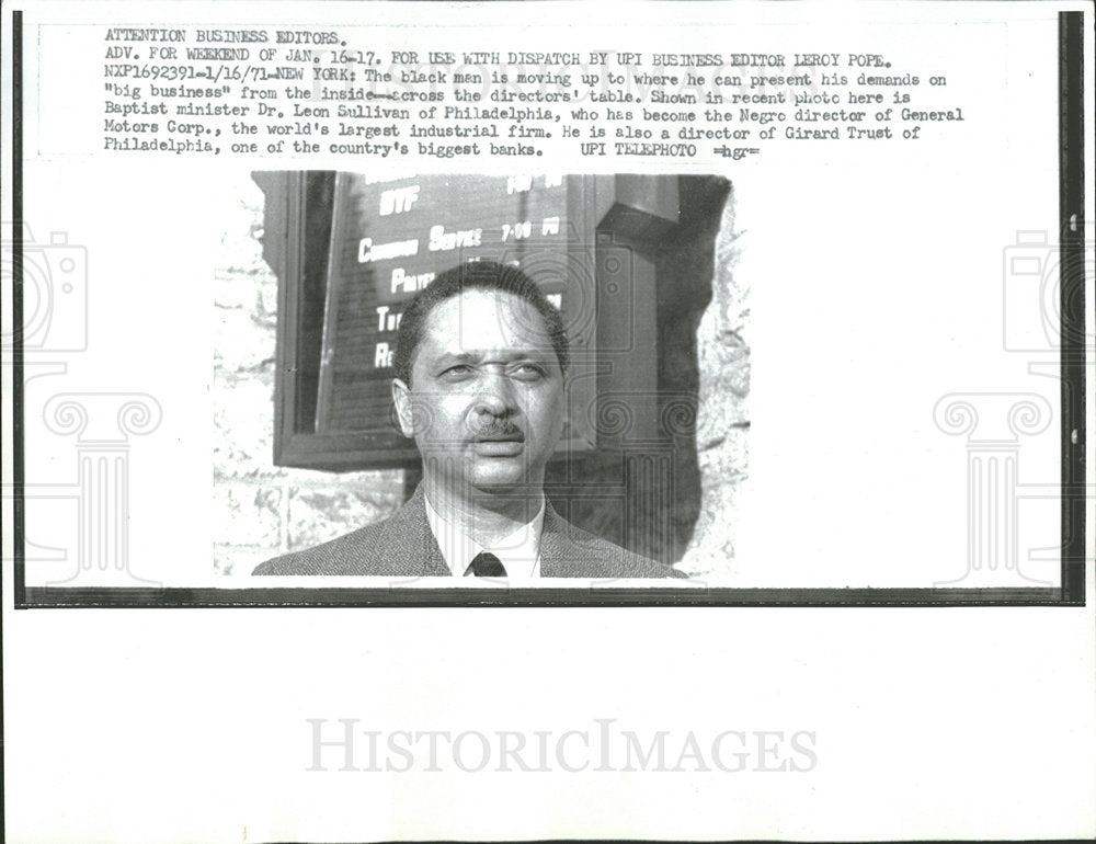 1971 Press Photo minister Sullivan Negro director GM - Historic Images