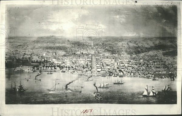 1936 Press Photo Detroit Waterfront History 1858 - Historic Images