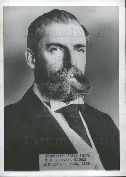 1906 Press Photo Charles Evans Hughes Insurance Counsel - Historic Images