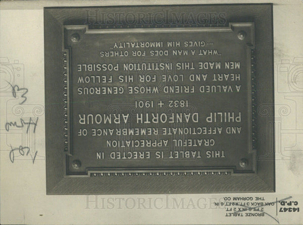 1914 Press Photo Philip Danforth Armour Bronze Tablet - Historic Images