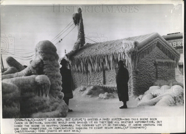 1940 Press Photo Snow And Ice Covered Denmark - Historic Images