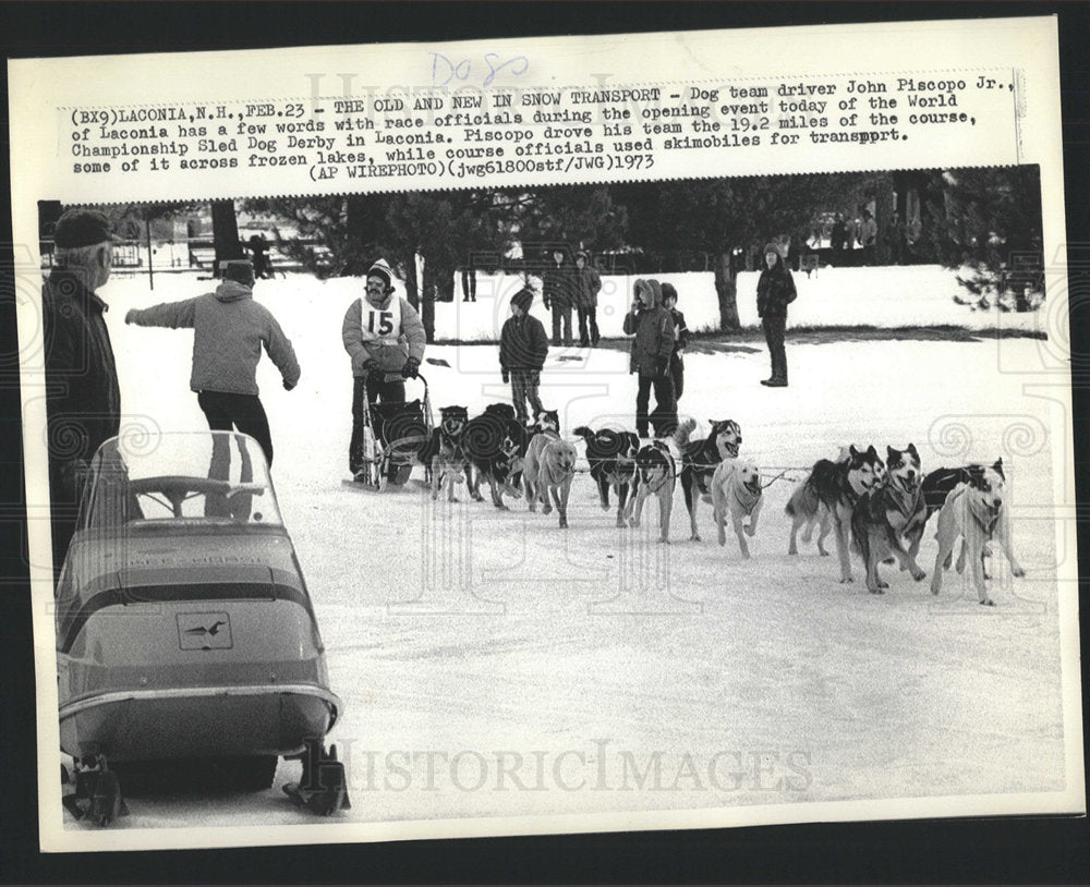 1973 Press Photo John Piscopo Jr. Sled Dog Derby Race - Historic Images