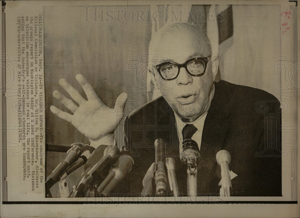 1969 Press Photo Dr. Milton S. Eisenhower  - Historic Images
