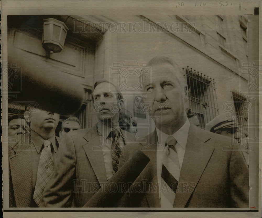 1973 Press Photo Spiro Agnew talks federal courthouse  - Historic Images