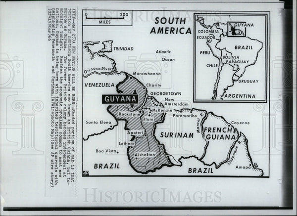 1966 Press Photo Guyana South America Map - Historic Images