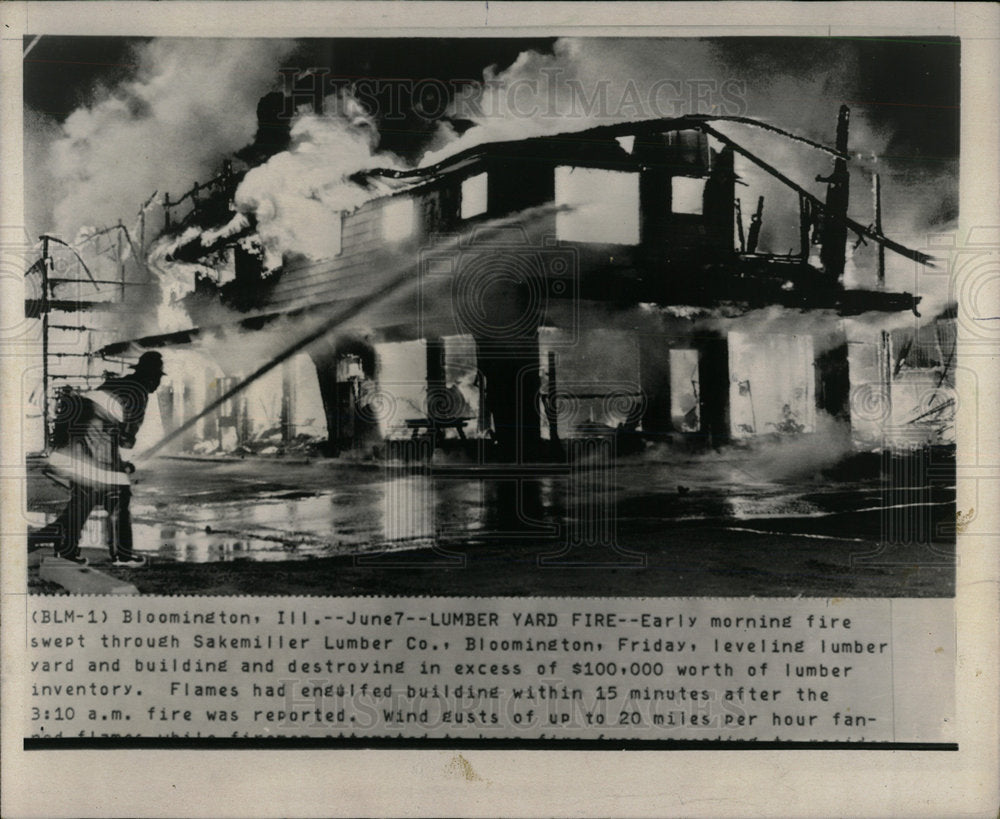 1974 Press Photo Lumber Yard Fire - Historic Images