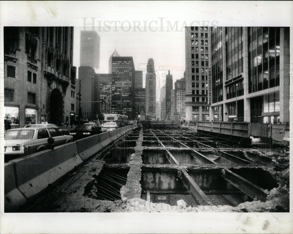 1992 Press Photo North Michigan Avenue Reconstruction - Historic Images