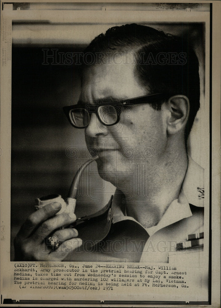 1971 Press Photo Maj. William Eckhardt Army Prosecutor - Historic Images
