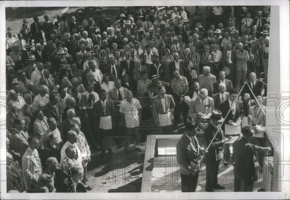 Press Photo Masons Cornerstone Dedication Ceremonies Co - Historic Images