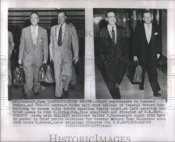 1955 Press Photo John W. Livingston Labor Leader - Historic Images