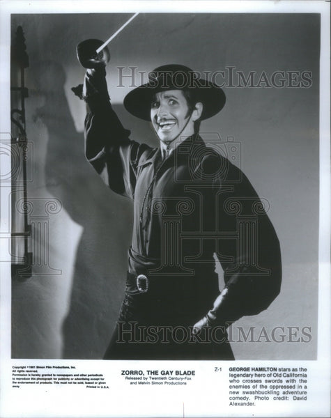 1981 Zorro Gay Blade Film Comedy George Hamilton Golden Globe Don - Historic Images