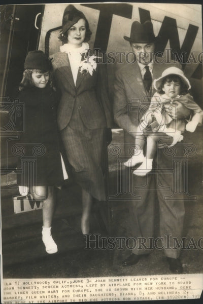 1936 Joan Bennett/Actress/& Family/Gene Markey/Film Writer - Historic Images